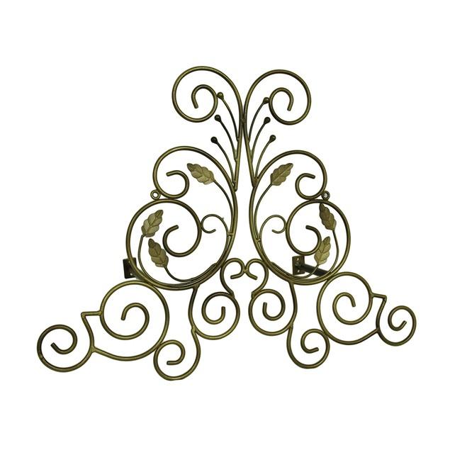 Bronze Finish Leaf Scroll Metal Drapery Crown/Wall Window Treatment Swag