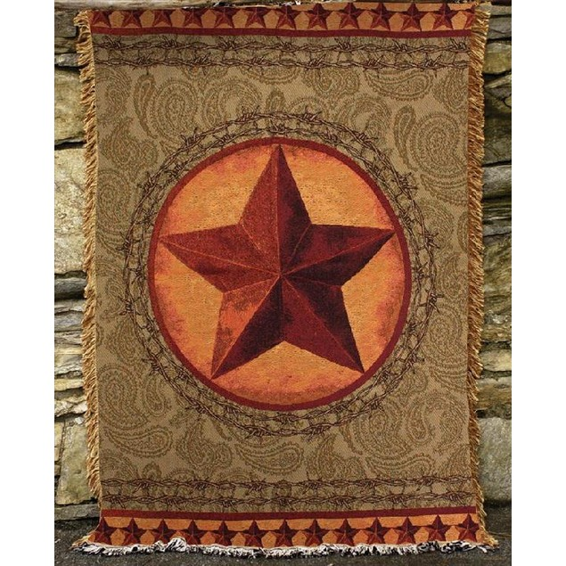 Western Star Green / Brown Tapestry Throw Blanket Throw Blankets