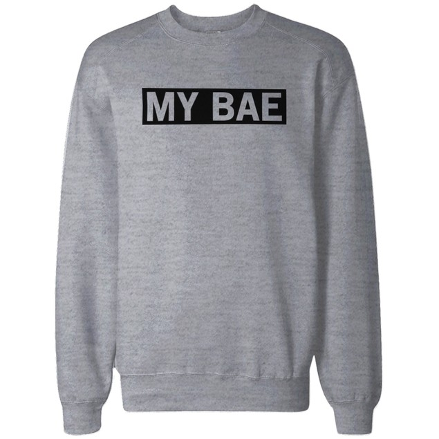 My Bae and My Boo Matching Grey Couple Sweatshirts Great Gift for Couples