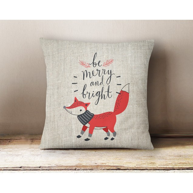 """Large Linen Holiday Pillow  Cover - 16"""" x 16"""""""