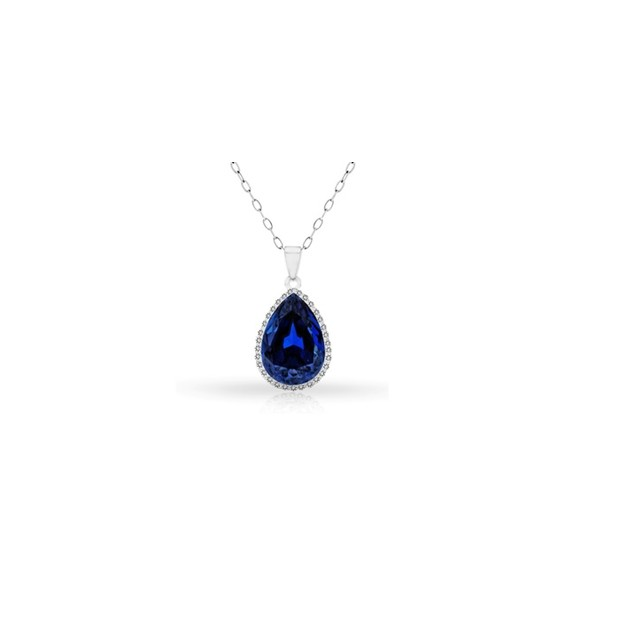 18KT White Gold Plated Halo Sapphire Pear Pendant in Sterling Silver