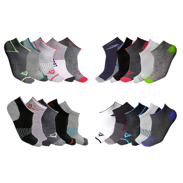 20-Pair Mystery Deal: Men's Moisture Wicking Low-Cut Socks