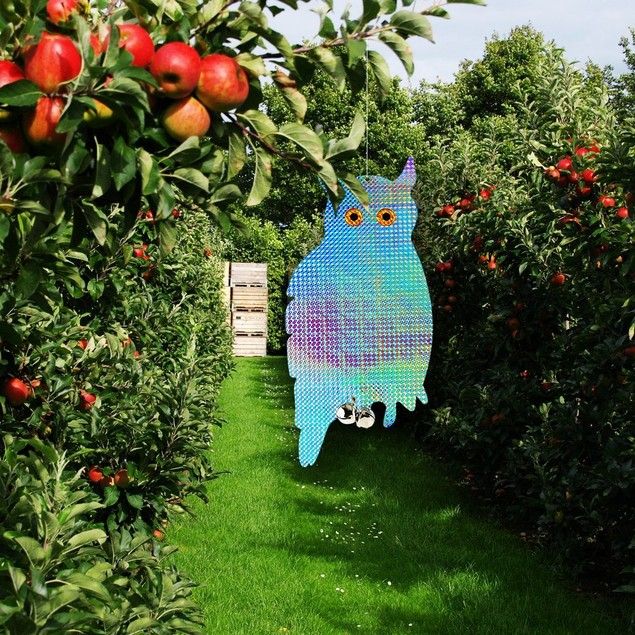 "2-Pack 16"" Bird Repellent Reflective Hanging Owl Blinders With Bells"