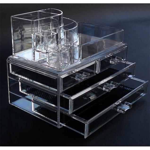 Luxury Acrylic Cosmetic Organizer 4 drawer and top brush holder