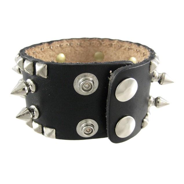 Spiked Studded Black Leather Wrist Band Wristband Mens Leather Bracelets