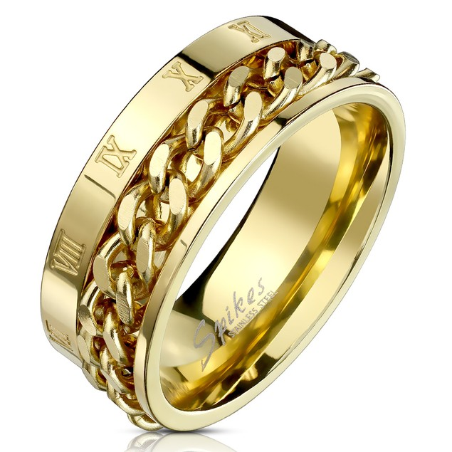 Gold Chain Stainless Steel Comfort Fit Mens Band