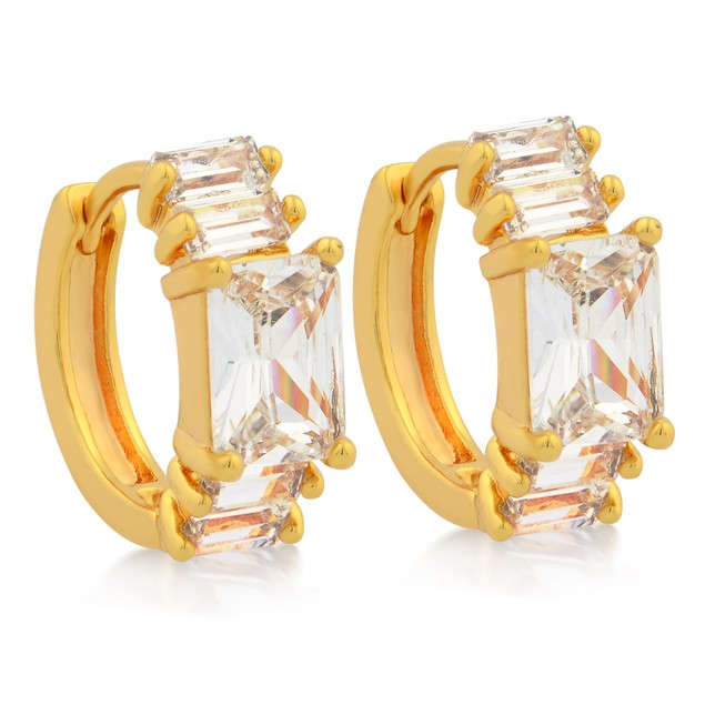 Gold Plated Straight Baguette CZ Huggie Earrings