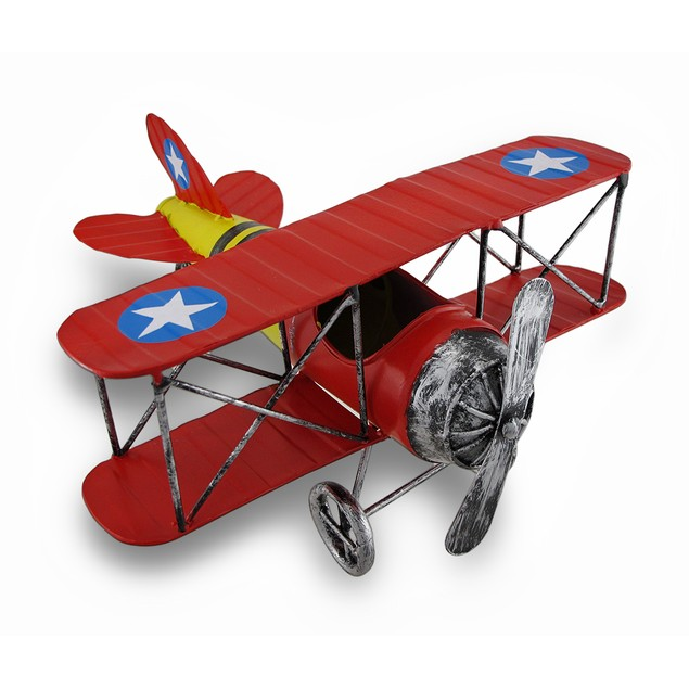Red And Yellow Metal Bi-Plane Sculpture 12 In. Statues
