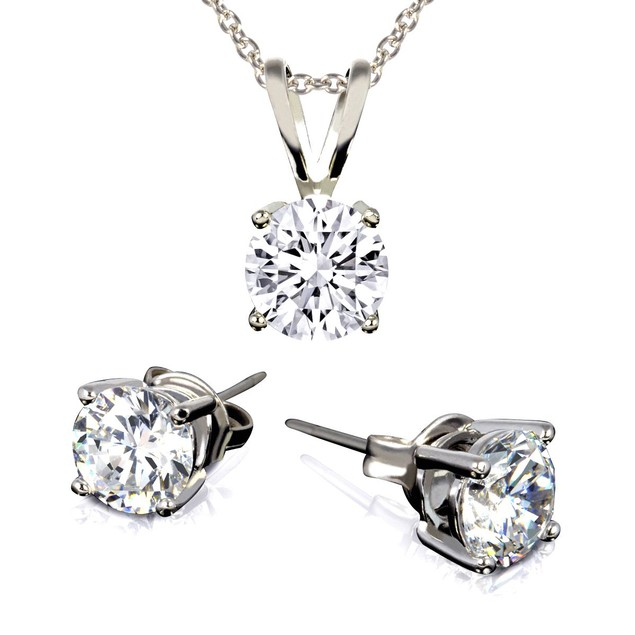 Round Crystal Solitaire Necklace & Stud Earring Set