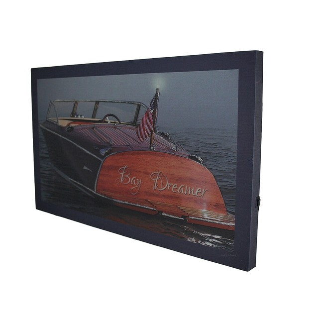 Bay Dreamer Led Lighted Classic Boat Canvas Wall Prints