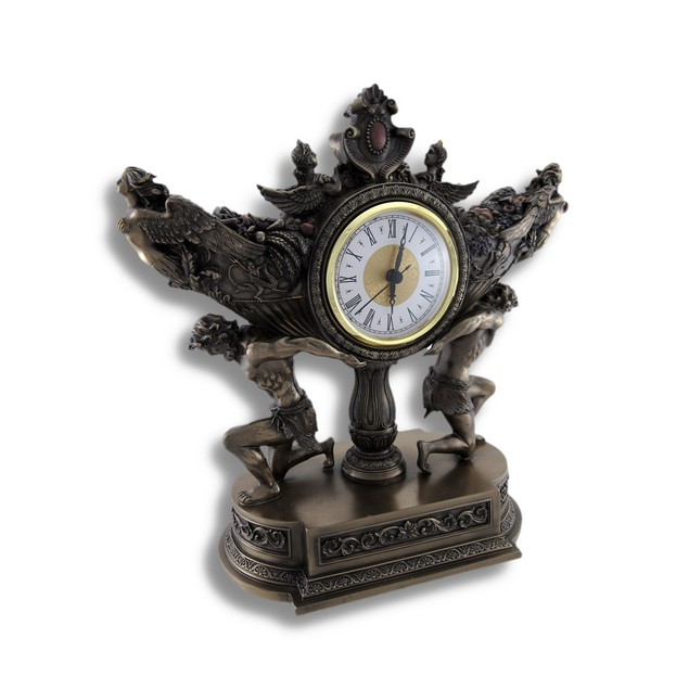 Bronzed Strong Men Carrying Vessel Of Harvest Desk Clocks
