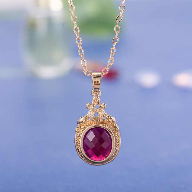 Gold Plated New York Inspired Red Necklace & Earrings Set