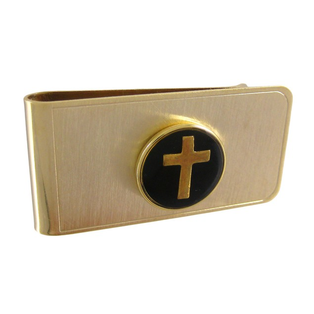Gold Plated Christian Cross Money Clip - Black Mens Money Clips