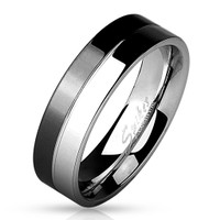 Men's 8mm Two Tone Black/Stainless Steel Ring