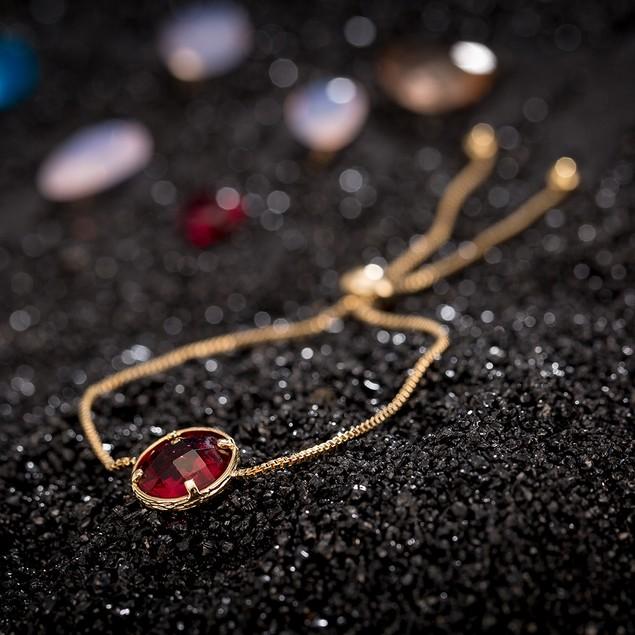 Gold Plated Circular Ruby Gem Bracelet