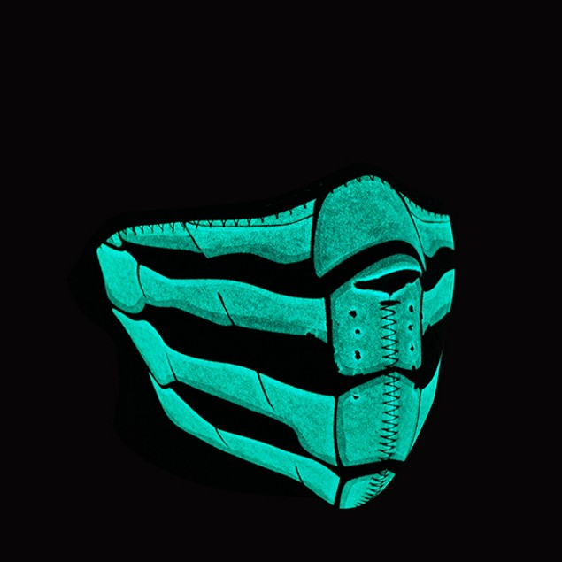 Neoprene 1/2 Face Mask - Bone Breath Glow in the Dark