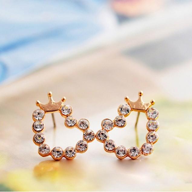 Gold Tone Heart Crown Earrings