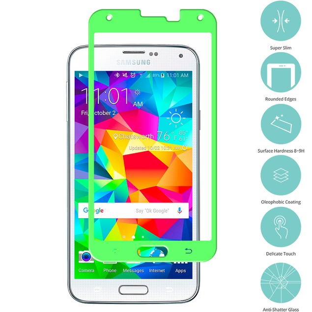 Samsung Galaxy S5 Tempered Glass Film Screen Protector Colored