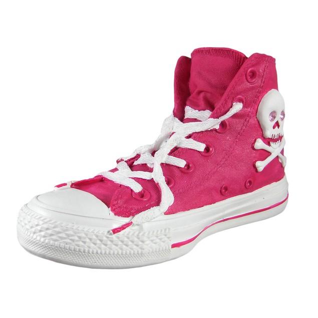 Pink Skull & Bones Retro High Top Sneaker Coin Toy Banks