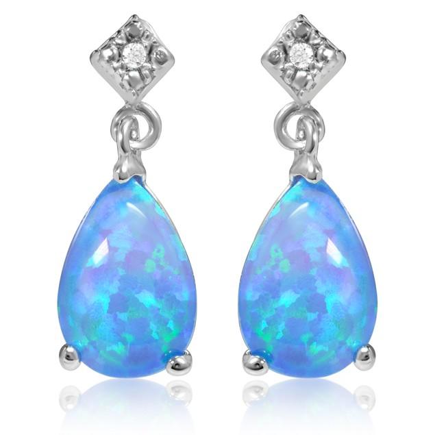 Sterling Silver Genuine Blue Opal Pearshape Drop Earrings