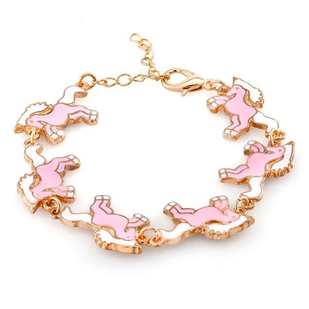 Kids Gold Plated Pony Enamel Bracelet