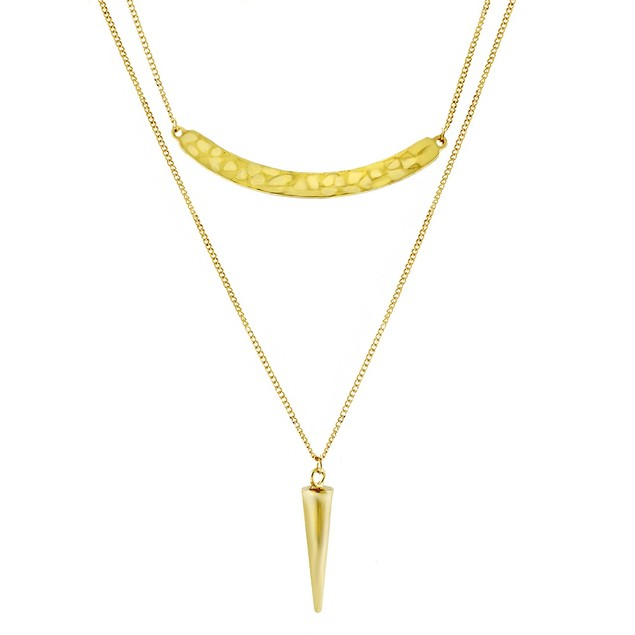 Gold Plated Double Layer Arrowhead Bar Necklace