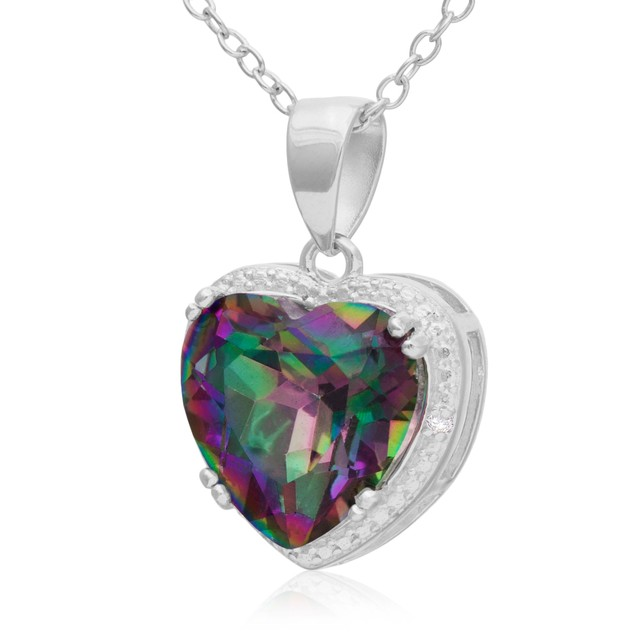 3 Carat Mystic Topaz and Diamond Heart Necklace