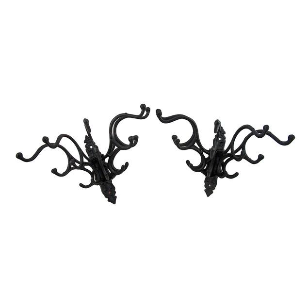 Set Of 2 Cast Iron Victorian Style 5 Hook Hat / Decorative Wall Hooks