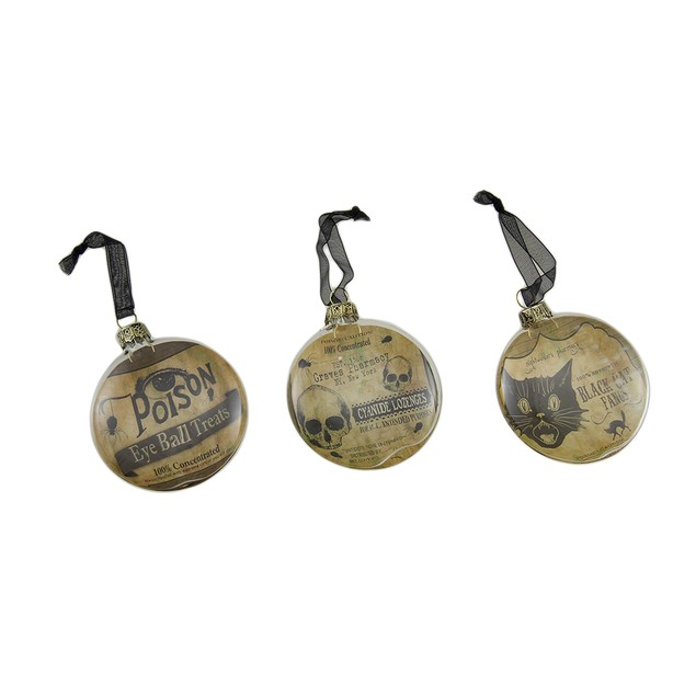 3 Pc. Bethany Lowe Vintage Style Glass Disc Halloween Hanging Ornaments