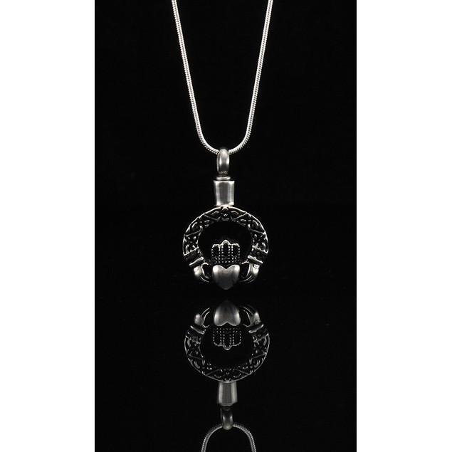 Stainless Steel 3D Claddagh Keepsake Memorial Vial Womens Pendant Necklaces