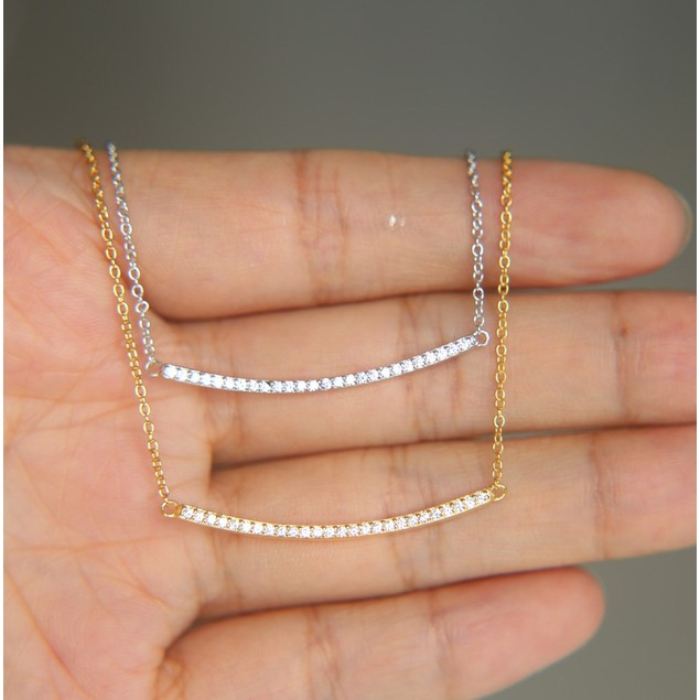 Cubic Zirconia Curved Bar Necklace