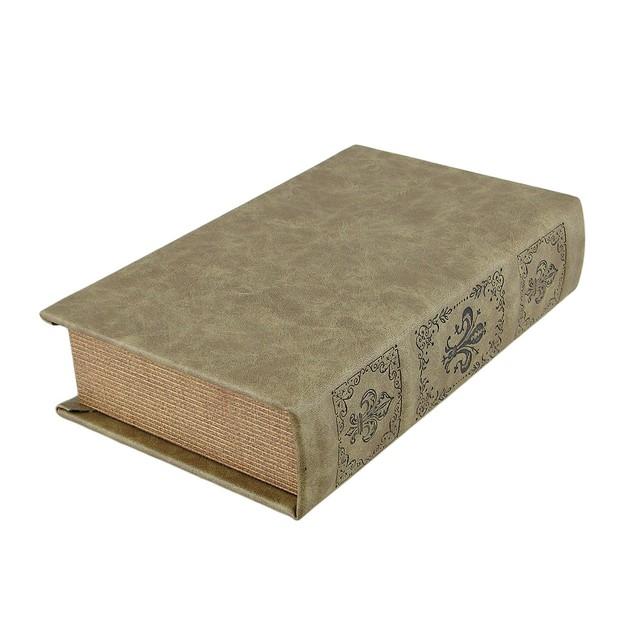 Tan Royal Seal Faux Leather Book Secret Stash Box Decorative Boxes