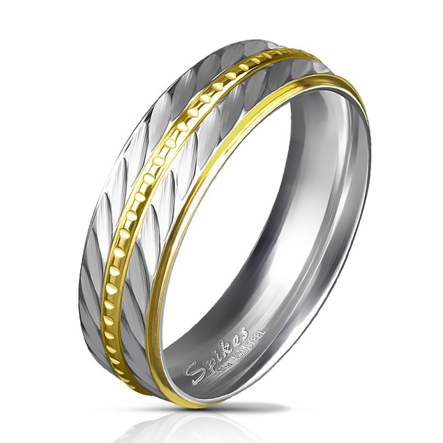 316L Stainless Steel Gold IP Diagonal Ring