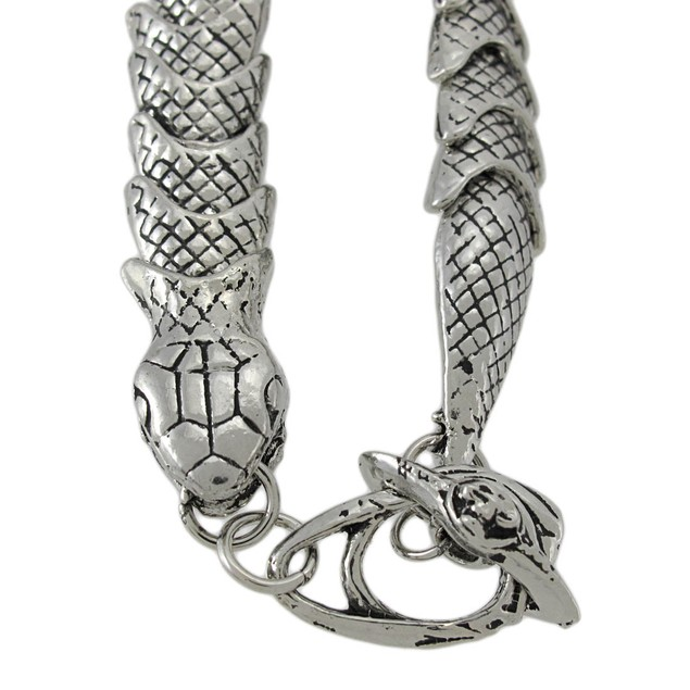 Chrome Plated Snake Link Toggle Clasp Bracelet Mens Chain Bracelets