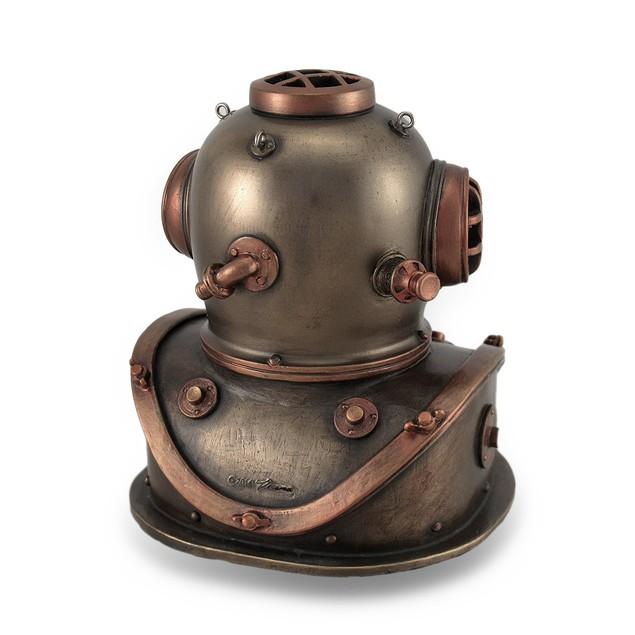 Bronze And Copper Finish Mark V Dive Helmet Desk Desk Clocks