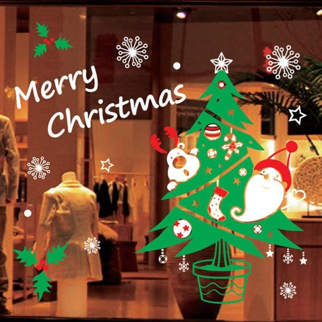 Christmas PVC Removable Display Window Showcase Decal Wall Stickers