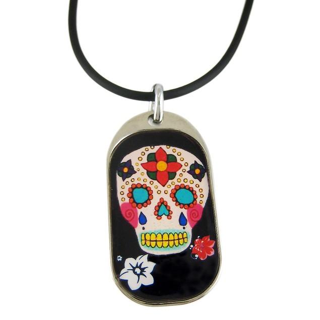 Black Day Of The Dead Skull Pendant / Rubber Mens Pendant Necklaces