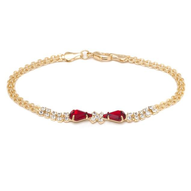 18K Gold & Red Crystal Bow Bracelet