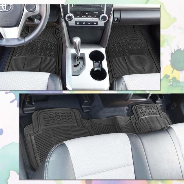 Zone Tech Set of 3 Piece Heavy Duty Car Vehicle Black Rubber Floor Mats
