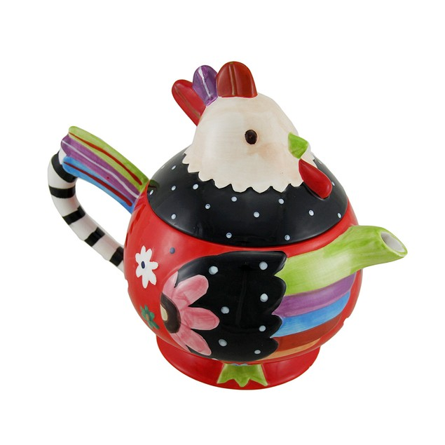 Whimsical Hand Painted Ceramic Rooster Teapot 33 Teapots