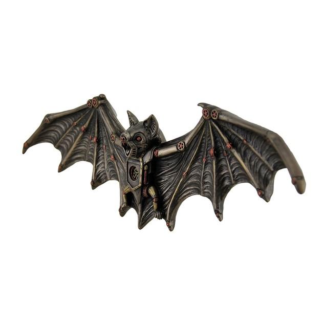 Mechanical Steampunk Vampire Bat Bronze Finish Wall Sculptures