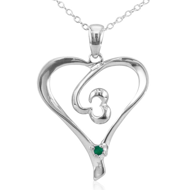 .05ct Emerald Heart Pendant in Sterling Silver