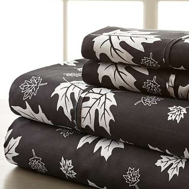 4-Piece Set: Hotel New York 1600 Series Falling Leaves - 12 Colors