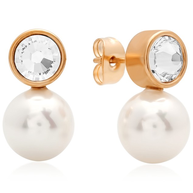 Ladies 18k Rose Gold Stud Earrings with Pearl