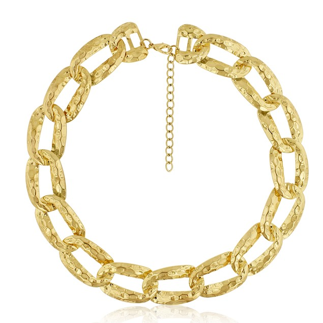 Gold Tone Hammered Oval Link Necklace, 16 Inches