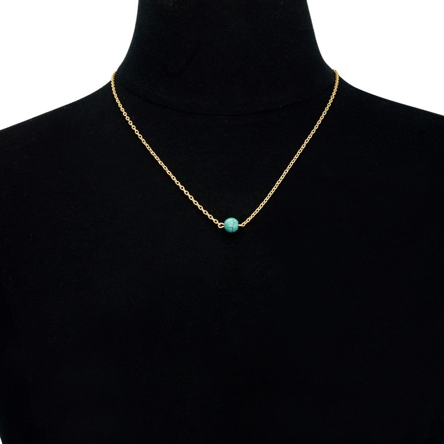 Gold Plated Turquoise Bead Necklace