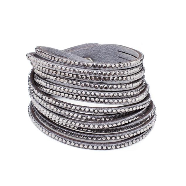 Leather and Austrian Crystal Wrap Bracelet - Smoky Grey