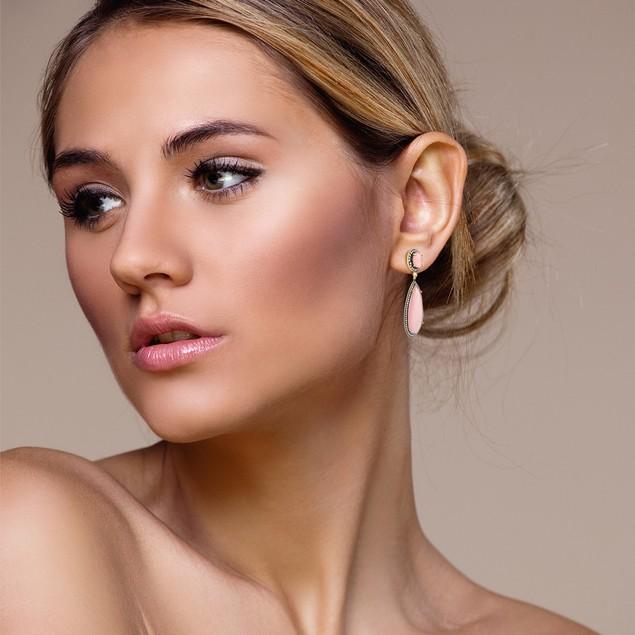 14k Yellow Gold 64ct Pear Shape Rose Quartz and CZ Halo Dangle Earrings