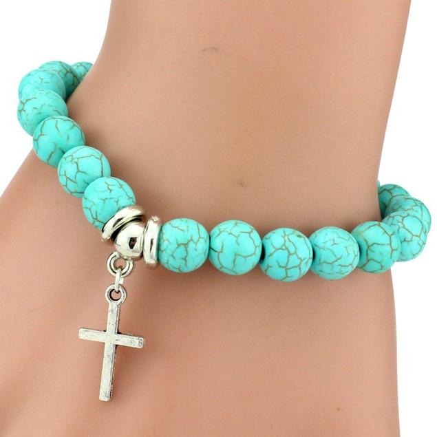 Cross Charm Turquoise Stone Bracelet