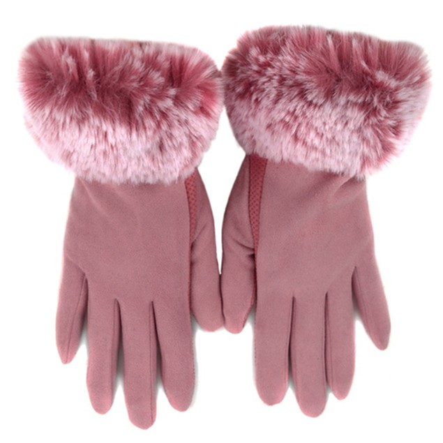 Women's Faux-Fur Cuff touch Screen Gloves w/Non Slip Grip & Fleece Lining